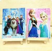 Wholesale Frozen Cartoon Olaf Elsa Anna Princess quot x4 inch quot Kids Coloring Book with Stickers Drawing book Children Christmas Gift