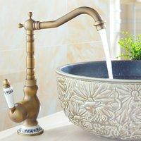 antique porcelain sink - Fashion Porcelain Handle Swivel bronze antique kitchen mixer basin mixer vegetables basin sink faucet F