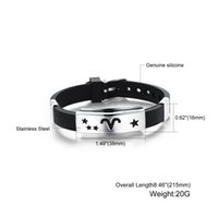 twelve south - New Fashion Hot Jewelry Bracelet Black Silicone Bracelets Stainless Steel Bracelet Twelve Constellations For Man DHL