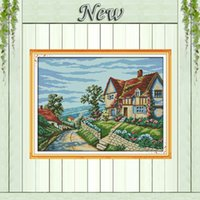 beautiful mansion - Beautiful village Scenery mansion painting Counted print on canvas DMC CT CT NKF Cross Stitch Needlework kits Embroidery Set