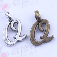 metal letters - hot selling A Z Alphabet letter Q charms floating antique silver bronze plated metal alloy