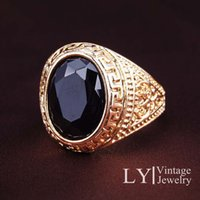 black onyx rings - Unisex Ring Black Onyx gem carved jewelry simple manufacturers selling rings for women and men