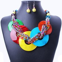 shell necklace and earring - new luxury boho Bohemian multi beads choker necklace and earrings shell jewerly sets for women fine jewelry