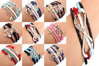 Wholesale HOT One Direction Anchor Infinity Antique Cross Love Peace Heart Music mix Leather Bracelet Charm Wristbands SET