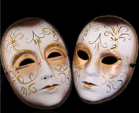 beautiful face masks - 5pcs Hot selling beautiful pulp European style painting masks Venice Couples lovers mask