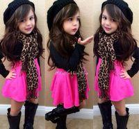 hot pink shirts - Hot Children Outfits Kids Outfits Girl Black Shirt Pink Skirt Scarf set Child Suit Girls Outfits Children Clothing Girls dress sets