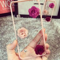 Pink 3D Bling de la flor de cristal de diamante de teléfono celular transparente Shell Case cubierta trasera para iphone 6s 6 más 5 5s