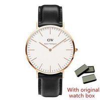 alloy watch box - Luxury Fashion Men Women leather nylon strap Quartz Wristwatch Leisure Dress Watch Reloj Mujer Montre Femme watches with box mm