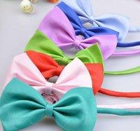 Wholesale 100 Fashion Polyester Silk Pet Dog Necktie Adjustable Handsome Bow Tie Necktie Pure color Grooming Supplies Random color GLD06