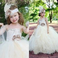 Cheap 2015 Pageant Ball Gowns For Girls Strapless Flower Top Ivory Lace and Tull Full Length Teen Pageant Dresses