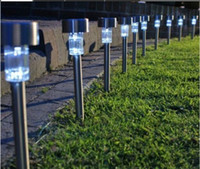 Wholesale High quality waterproof solar lamps white Stainless Steel Spot Light Solar LED Path Light Outdoor Garden Lawn lightings cold white