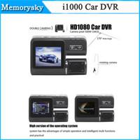 Doble lente coche cámara i1000 coche DVR Dual Cámara HD 1080p Dash Cam negro caja con posterior 2 Cam vehículo vista auto grabador 002780