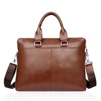 Wholesale Sell Like Hot Cakes Inches Of Business Briefcase Laptop Bag Men Business Handbags Package Cross Section Leather Male Single Shoulder Bags