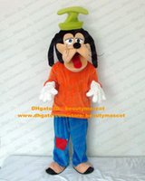 Wholesale Goofy Dog Mascot Costume Mascotte With Sticking Red Tongue Out Black Long Ears Adult Party Suit Fancy Dress No