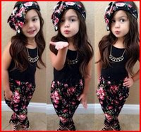 Spring / Autumn children tank tops - Free Ship New Summer Girls Flower Outfits Girl Black Tees Tank Tops Flower Pants Girls Headbands Children Set Kids Suit Outfits PC Set