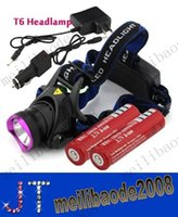 Wholesale Lumens CREE XM L XML T6 LED Headlamp Headlight Flashlight Head Lamp Light battery charger Car Charger MYY13