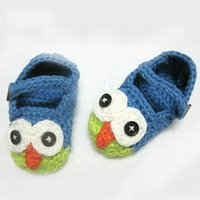Cheap Wholesale-Mary Janes Slippers Handmade Crochet baby First Walkers Animal pattern Owl Shoes Baby Sandals Free Shipping
