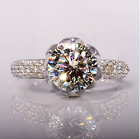 3 ct diamond ring - New arrival Luxury wedding Ct Sterling Silver Sona Austrian Created Diamond Crystal Full Stone Engagement Ring Lotus Flower design