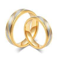 Engagement et bagues de mariage 18K quelques anneaux d'or de mode anneaux pour des alliances en acier inoxydable homme et femmes
