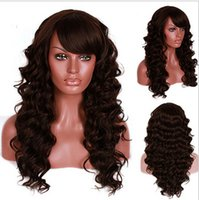 Wholesale Top material and perfect style dark brown long loose afro kinky curly synthetic hair wig with oblique fringe
