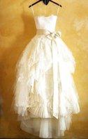 tea length wedding dress - Vintage Strapless Wedding Dresses Appliques Lace A Line Organza Ruffle Tea Length Beach Bridal Gowns TB0086