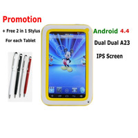 Wholesale Xmas Gift Stylus Inch Kids IPS Screen Dual Core A23 Dual Camera Games Toys Wifi Tablet PC Better than Q88 Wifi Android