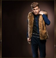 america leather vests - Fall Men s waistcoat new winter grass leather hooded vest plush fur waistcoat Europe and America V5G100