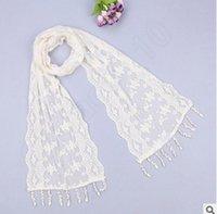 Wholesale 50PCS LJJL25 Ms Triangle Silk Scarf New Fashion Scarf Tassel Flower Lace Scarves Wrap Shawl Mantilla