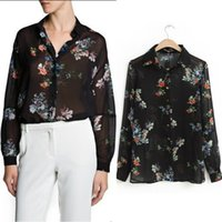 Cheap New Arrival Euro- American Style Style women printed chiffon shirts fashion full sleeve loose tops blouses black free shipping