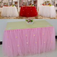 Wholesale 2015 Pastoral Wedding Tutu Table Skirt cm cm Pink White Ivory Red Birthday Tulle Tutu Table Skirts for Party and Banquet