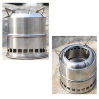 Wholesale Portable Stainless Steel Camping Stove Outdoor Wood Stove Firewoods Furnace Lightweight BBQ Picnic Solidified Alcohol Stove