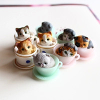 Wholesale 8 cute kitty miniatures lovely cup cats animals fairy garden gnome terrarium decoration crafts bonsai