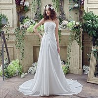 Cheap 2016 Newest In Stock Strapless Neck Pleats A-line Wedding Dresses Chapel Train Beaded Lace Up Back Real Picture Chiffon Bridal Dresses Gowns