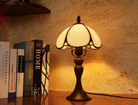 Wholesale Europe Retro Glass Table Lamps Vintage European Luxurious Classical Color Glass Brown Desk Lamp Bedroom Bedside Light Dia cm
