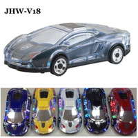 Wholesale JHW V18 Colorful Crystal LED Light Mini Car model Speaker Cheap Amplifier Loudspeaker Support TF Card FM Radio Handsfree MP3 Music Player