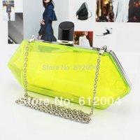 achat en gros de jaune livraison gratuite embrayage-Gros-Nouvelle-Femmes Transparent Jaune Acrylique forme de diamant Pochette du soir sac à main Livraison gratuite