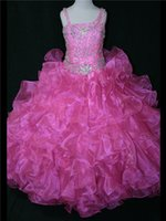 Cheap Hot Pink Cascading Ruffles 2014 Girl's Pageant Dresses with One Shoulder Crystal Luxury Jewel Sweep-Train Long Formal Teens Skirt Ball Gowns