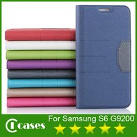Wholesale Folio Book Leather Case For Samsung S6 G9200 Card Slot Phone Holder Soft TPU With PU Leather Case