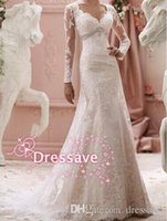 Wholesale Vestidos de Noiva Sheer Wedding Dresses Long Sleeve Lace Appliques Mermaid Sweep Train Vintage Wedding Dress Bridal Gowns BO7009