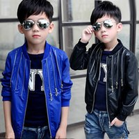 kids leather jackets - boy kid faux fur jacket autumn spring child PU leather outwear clothing pure color black blue o neck full sleeve punk jacket coat