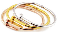 Wholesale 18K gold plated Punk Artilady new nail bangle stainless steel top quality colors bracelet for women Jewelry