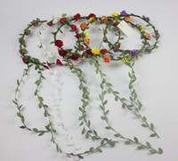 Wholesale Child And Adult Flower Wreath Summer Flower Garden Garland Performances Party Supplies Forehead Hair Head Band Colors Random Delivery