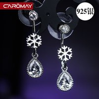 amber drop stud earrings - Kalome silver jewelry S925 Korea fashion big snow drop earrings earrings Crystal Earrings female temperament
