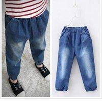 wholesale blue jeans - 2015 New Style Spring Children Boy Girl Jeans Pure Blue Kids Harem Pants Child Loose Demin Trousers Clothes HR174