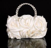 Wholesale Charmings Ivory Bridal Hand Bags Stain Women ladies Wedding Evening Prom Party Handbag VT