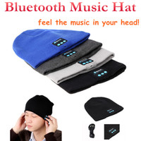 Wholesale Bluetooth Music Hat Soft Warm Beanie Cap with Stereo Headphone Headset Speaker for man support for ipone ipad MP3 Samsung Smartphone