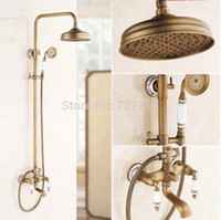 antique wall units - New quot Antique Brass Shower Faucet White And Blue Porcelain Hand Unit Wall Mount