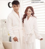 bath promotions - Ultrafine coral fleece pajamas gown bath robe female Male shallow white flannel promotion