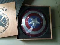 Wholesale The Avengers Full Metal Captain America Shield Aluminum Wooden packaging Diameter CM Cosplay Toys Model H