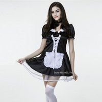 adult costume shop - Maid Costumes M L XL XXL Plus size women sexy costumes for adults Black Lace coffee shop work uniform WS051